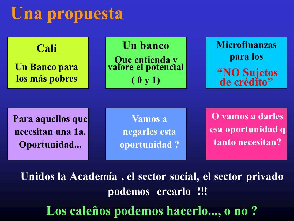 Una propuesta Unidos la Academía, el sector social, el sector privado podemos crearlo !!! Los caleños podemos hacerlo..., o no ? Cali Un Banco para lo
