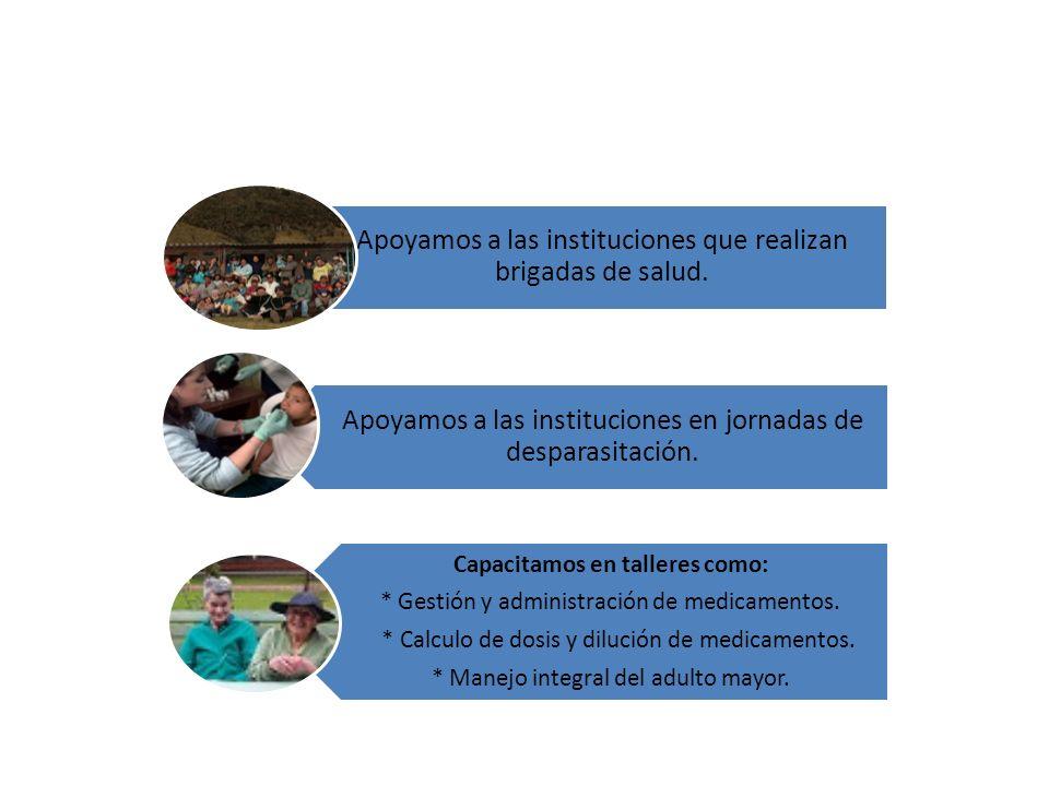 Apoyamos a las instituciones que realizan brigadas de salud. Apoyamos a las instituciones en jornadas de desparasitación. Capacitamos en talleres como