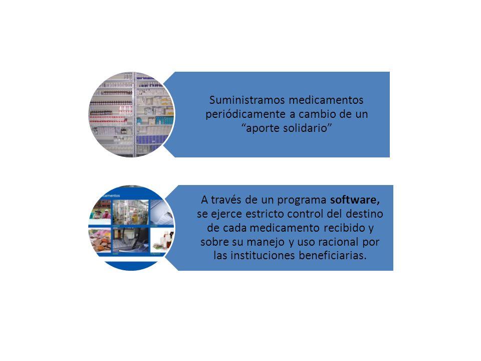Suministramos medicamentos periódicamente a cambio de un aporte solidario A través de un programa software, se ejerce estricto control del destino de