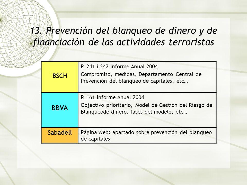 13. Prevención del blanqueo de dinero y de financiación de las actividades terroristas BSCH P. 241 i 242 Informe Anual 2004 Compromiso, medidas, Depar