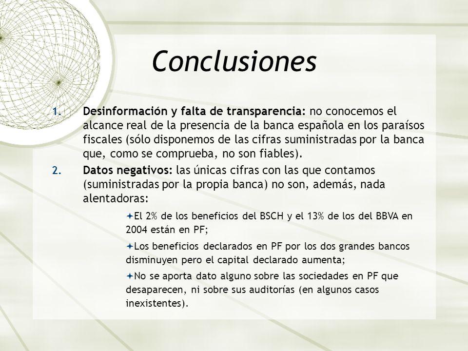 Conclusiones 1. Desinformación y falta de transparencia: no conocemos el alcance real de la presencia de la banca española en los paraísos fiscales (s