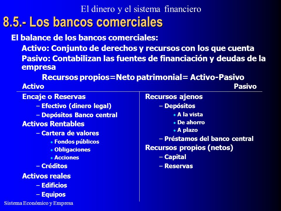 El dinero y el sistema financiero Sistema Económico y Empresa 8.5.- Los bancos comerciales El balance de los bancos comerciales: Activo: Conjunto de d