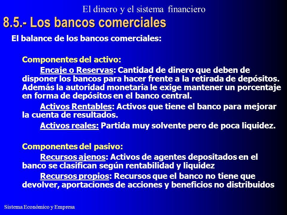 El dinero y el sistema financiero Sistema Económico y Empresa 8.5.- Los bancos comerciales El balance de los bancos comerciales: Componentes del activo: Encaje o Reservas: Cantidad de dinero que deben de disponer los bancos para hacer frente a la retirada de depósitos.