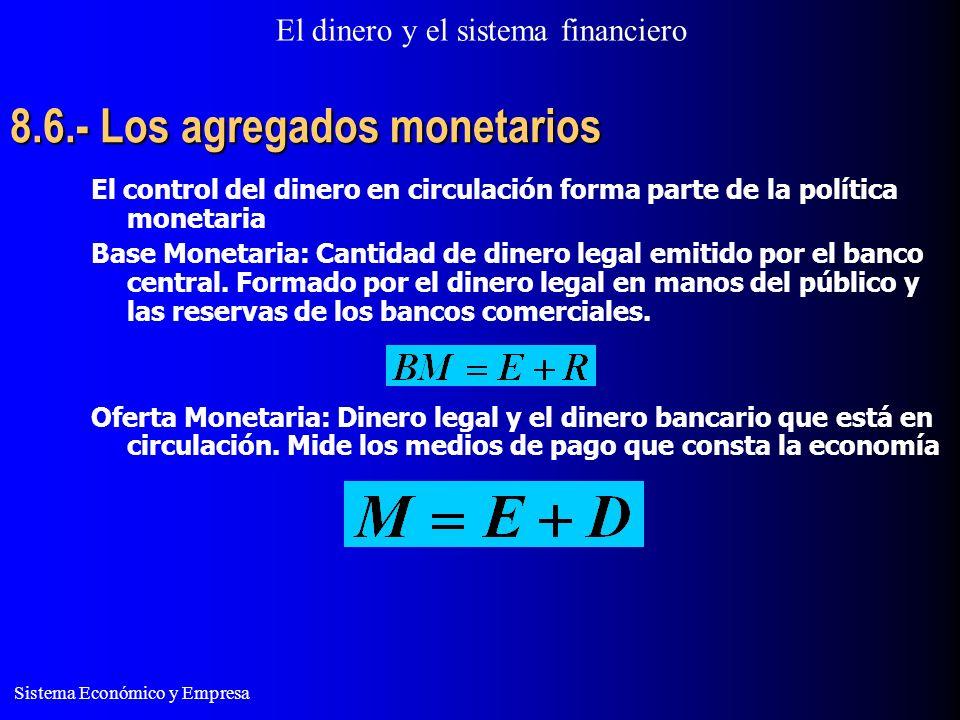 El dinero y el sistema financiero Sistema Económico y Empresa 8.6.- Los agregados monetarios El control del dinero en circulación forma parte de la política monetaria Base Monetaria: Cantidad de dinero legal emitido por el banco central.