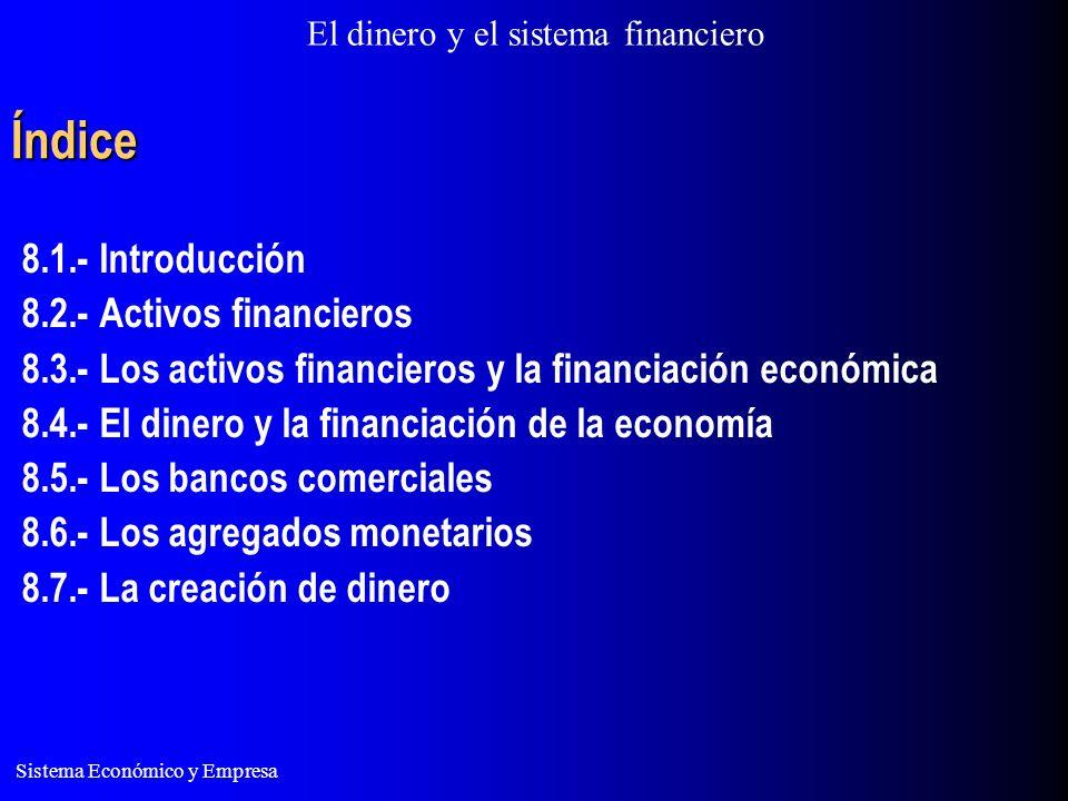 El dinero y el sistema financiero Sistema Económico y Empresa Índice 8.1.- Introducción 8.2.- Activos financieros 8.3.- Los activos financieros y la financiación económica 8.4.- El dinero y la financiación de la economía 8.5.- Los bancos comerciales 8.6.- Los agregados monetarios 8.7.- La creación de dinero