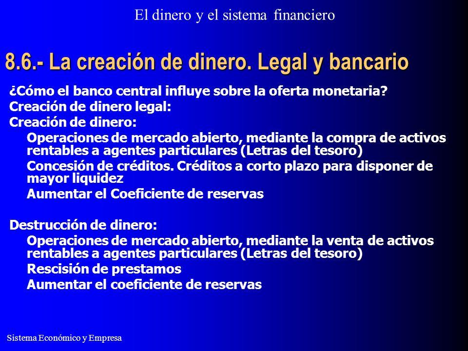 El dinero y el sistema financiero Sistema Económico y Empresa 8.6.- La creación de dinero. Legal y bancario ¿Cómo el banco central influye sobre la of