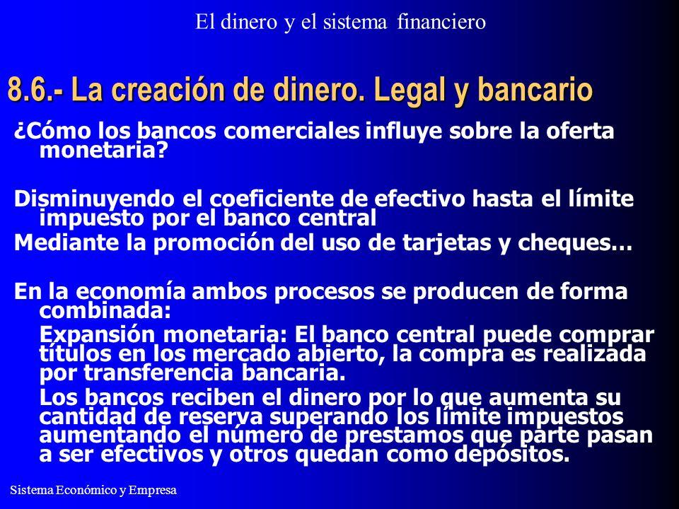 El dinero y el sistema financiero Sistema Económico y Empresa 8.6.- La creación de dinero. Legal y bancario ¿Cómo los bancos comerciales influye sobre