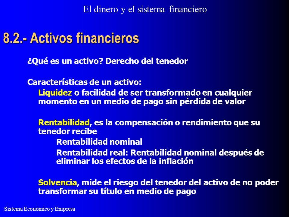 El dinero y el sistema financiero Sistema Económico y Empresa 8.2.- Activos financieros ¿Qué es un activo? Derecho del tenedor Características de un a