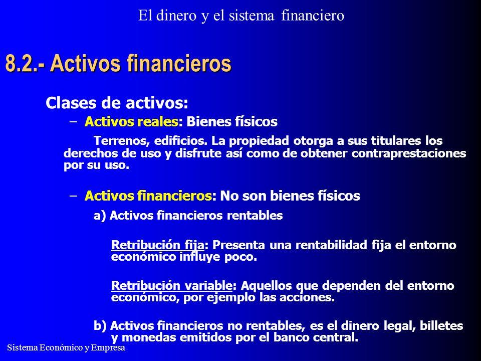 El dinero y el sistema financiero Sistema Económico y Empresa 8.2.- Activos financieros Clases de activos: –Activos reales: Bienes físicos Terrenos, edificios.