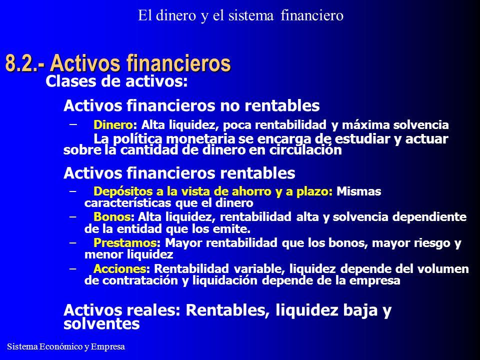 El dinero y el sistema financiero Sistema Económico y Empresa 8.2.- Activos financieros Clases de activos: Activos financieros no rentables – Dinero: