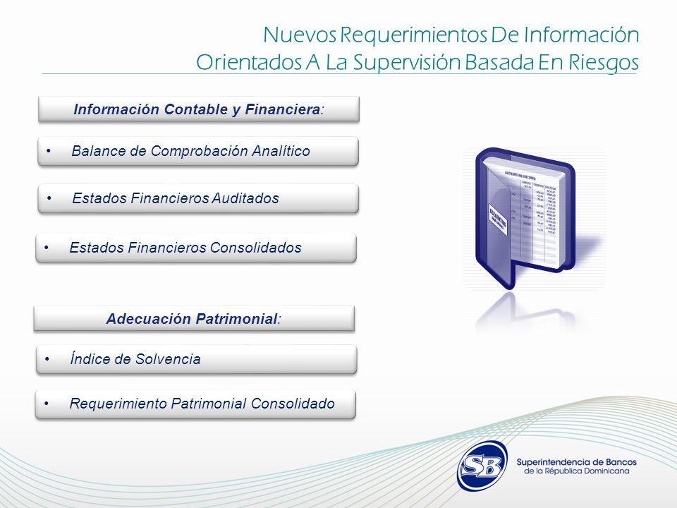 Información Contable y Financiera: Balance de Comprobación Analítico Estados Financieros Auditados Estados Financieros Consolidados Adecuación Patrimo
