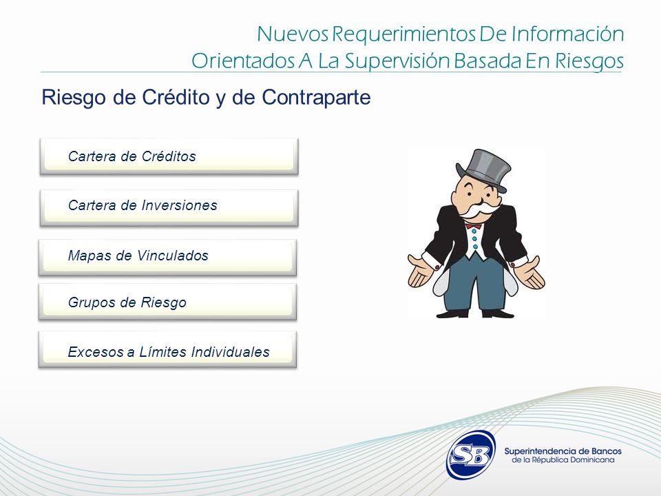 Nuevos Requerimientos De Información Orientados A La Supervisión Basada En Riesgos Riesgo de Crédito y de Contraparte Cartera de Créditos Cartera de Inversiones Mapas de Vinculados Grupos de Riesgo Excesos a Límites Individuales