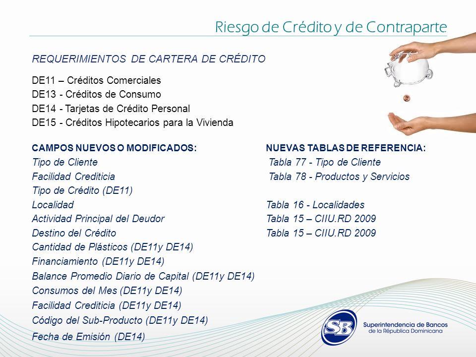 REQUERIMIENTOS DE CARTERA DE CRÉDITO DE11 – Créditos Comerciales DE13 - Créditos de Consumo DE14 - Tarjetas de Crédito Personal DE15 - Créditos Hipote