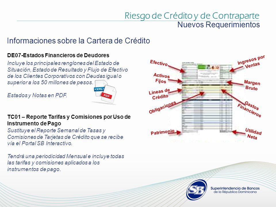 Informaciones sobre la Cartera de Crédito Nuevos Requerimientos DE07-Estados Financieros de Deudores Incluye los principales renglones del Estado de Situación, Estado de Resultado y Flujo de Efectivo de los Clientes Corporativos con Deudas igual o superior a los 50 millones de pesos.