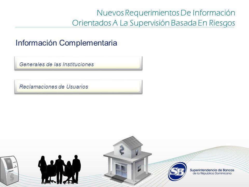Nuevos Requerimientos De Información Orientados A La Supervisión Basada En Riesgos Información Complementaria Generales de las Instituciones Reclamaciones de Usuarios
