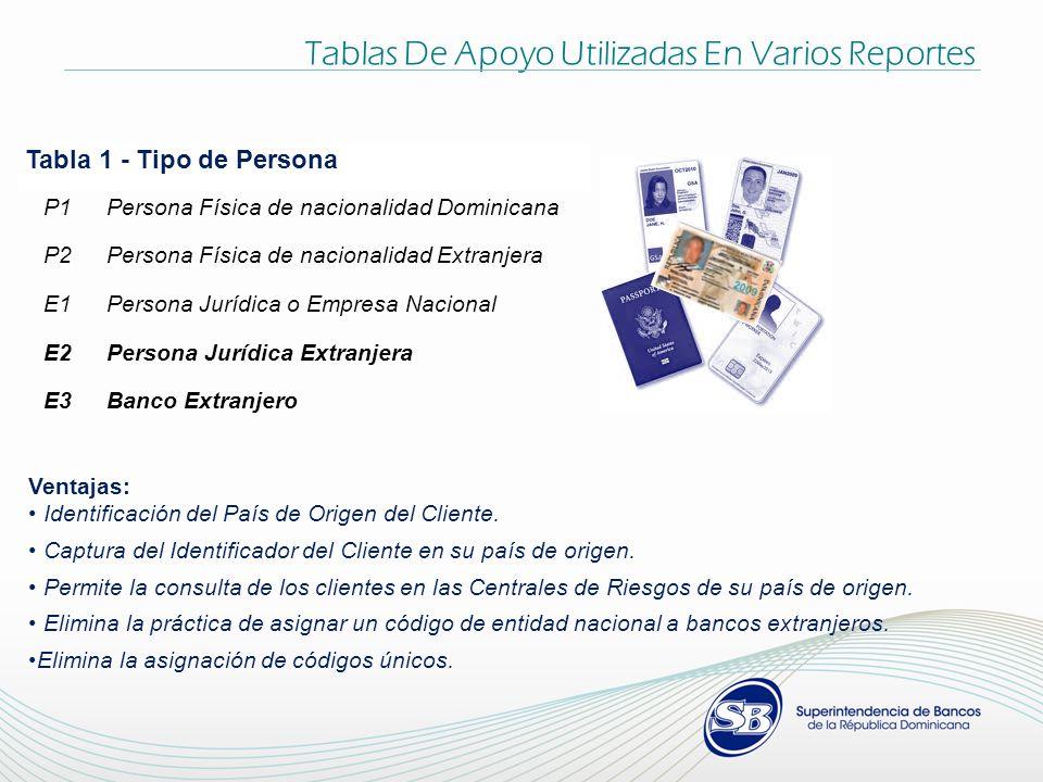 Tabla 1 - Tipo de Persona P1Persona Física de nacionalidad Dominicana P2Persona Física de nacionalidad Extranjera E1Persona Jurídica o Empresa Naciona