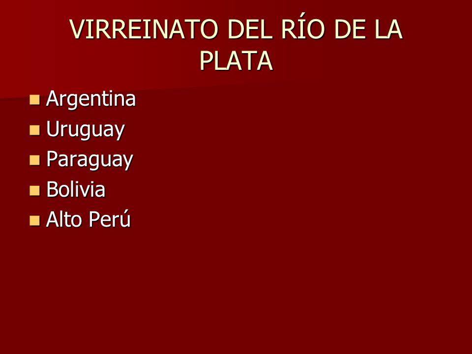 VIRREINATO DEL RÍO DE LA PLATA Argentina Argentina Uruguay Uruguay Paraguay Paraguay Bolivia Bolivia Alto Perú Alto Perú