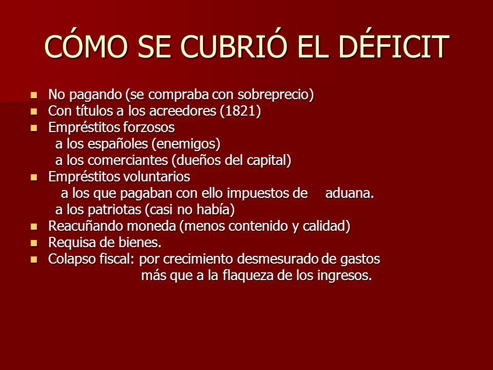 CÓMO SE CUBRIÓ EL DÉFICIT No pagando (se compraba con sobreprecio) No pagando (se compraba con sobreprecio) Con títulos a los acreedores (1821) Con títulos a los acreedores (1821) Empréstitos forzosos Empréstitos forzosos a los españoles (enemigos) a los españoles (enemigos) a los comerciantes (dueños del capital) a los comerciantes (dueños del capital) Empréstitos voluntarios Empréstitos voluntarios a los que pagaban con ello impuestos de aduana.