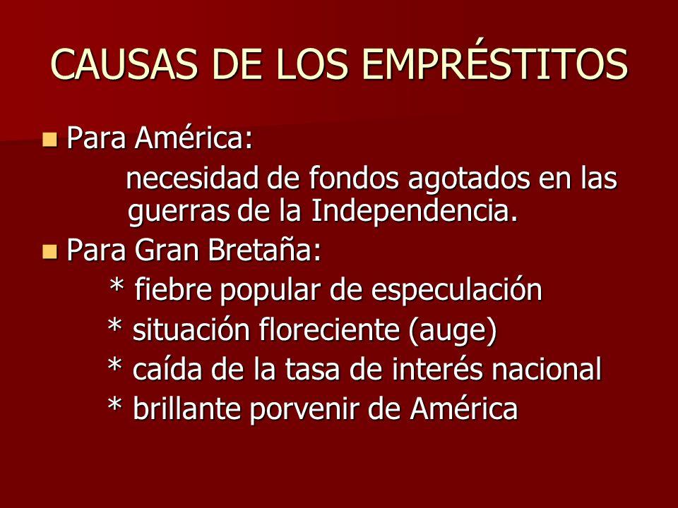 CAUSAS DE LOS EMPRÉSTITOS Para América: Para América: necesidad de fondos agotados en las guerras de la Independencia. necesidad de fondos agotados en
