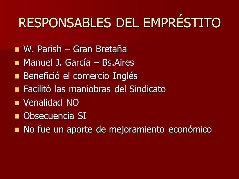 RESPONSABLES DEL EMPRÉSTITO W.Parish – Gran Bretaña W.