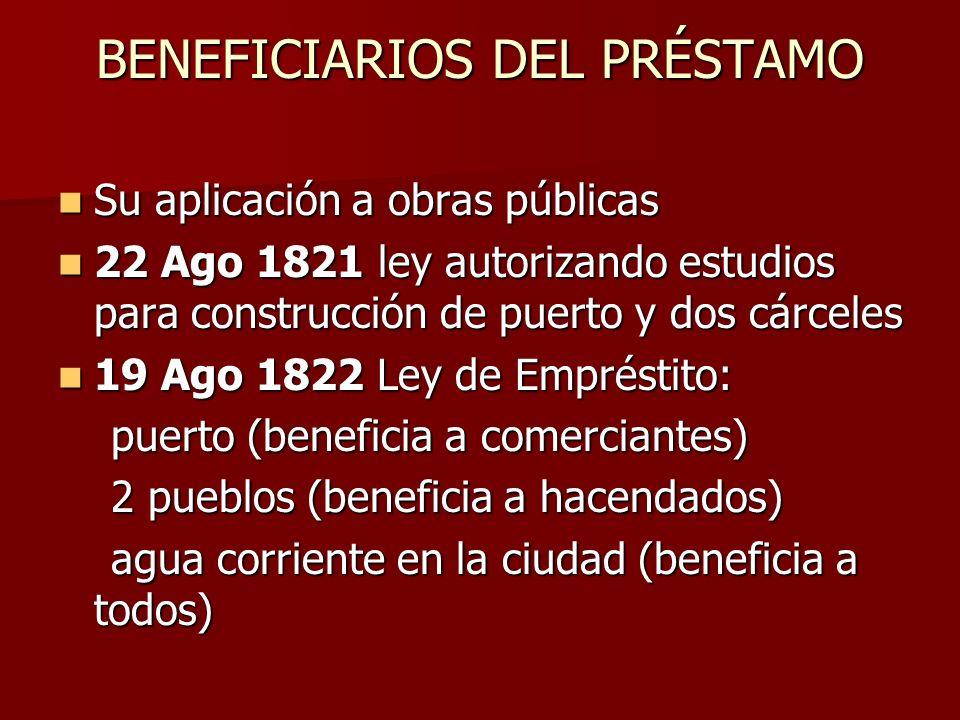 BENEFICIARIOS DEL PRÉSTAMO Su aplicación a obras públicas Su aplicación a obras públicas 22 Ago 1821 ley autorizando estudios para construcción de pue