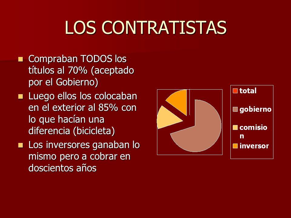 LOS CONTRATISTAS Compraban TODOS los títulos al 70% (aceptado por el Gobierno) Compraban TODOS los títulos al 70% (aceptado por el Gobierno) Luego ell