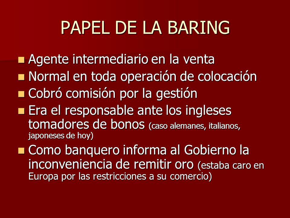 PAPEL DE LA BARING Agente intermediario en la venta Agente intermediario en la venta Normal en toda operación de colocación Normal en toda operación d