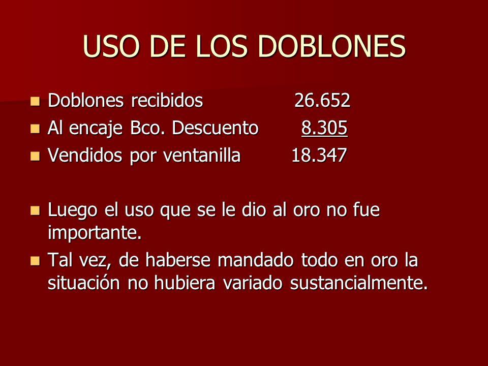 USO DE LOS DOBLONES Doblones recibidos 26.652 Doblones recibidos 26.652 Al encaje Bco. Descuento 8.305 Al encaje Bco. Descuento 8.305 Vendidos por ven