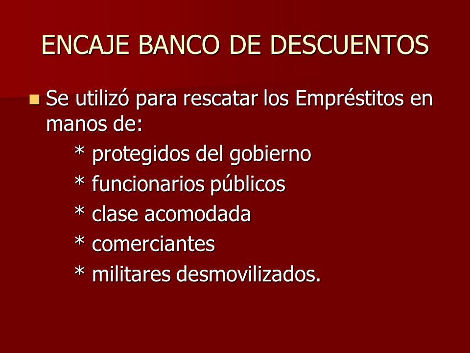 ENCAJE BANCO DE DESCUENTOS Se utilizó para rescatar los Empréstitos en manos de: Se utilizó para rescatar los Empréstitos en manos de: * protegidos de