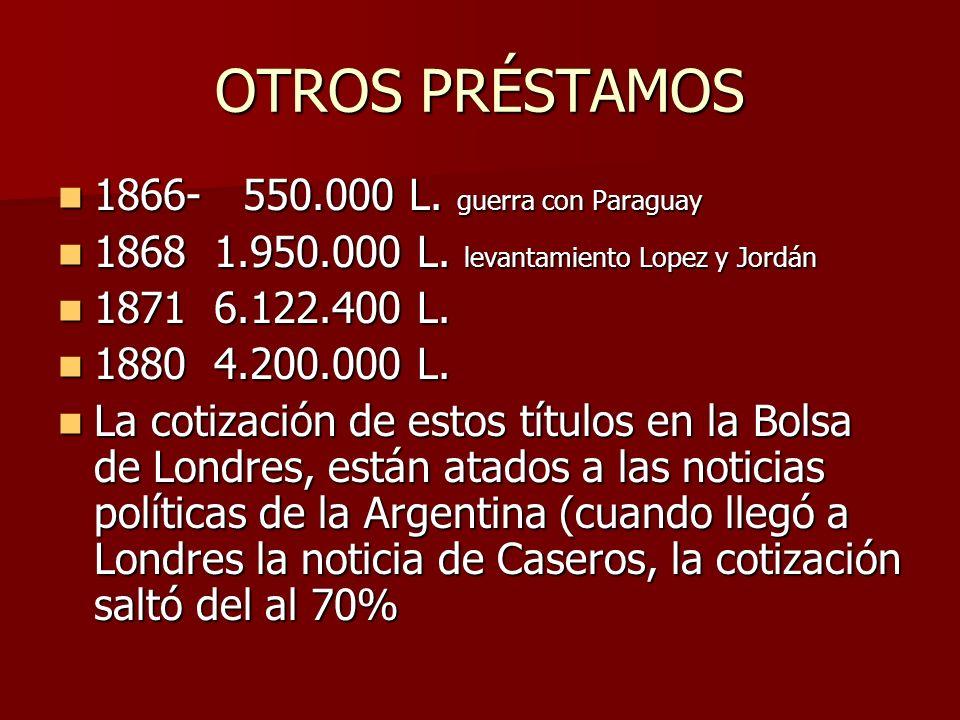 OTROS PRÉSTAMOS 1866- 550.000 L. guerra con Paraguay 1866- 550.000 L. guerra con Paraguay 1868 1.950.000 L. levantamiento Lopez y Jordán 1868 1.950.00