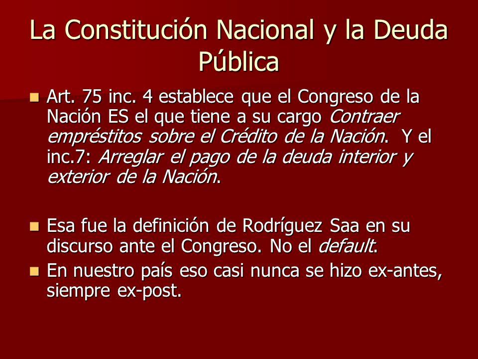 La Constitución Nacional y la Deuda Pública Art. 75 inc. 4 establece que el Congreso de la Nación ES el que tiene a su cargo Contraer empréstitos sobr