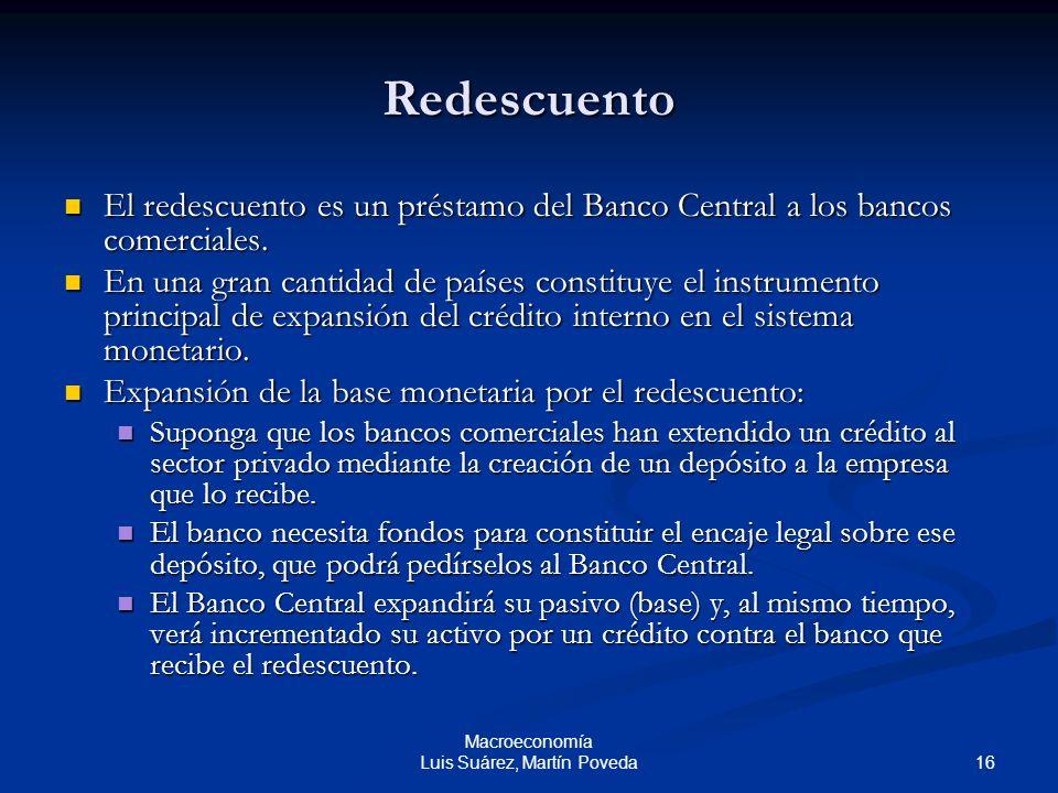 16 Macroeconomía Luis Suárez, Martín Poveda Redescuento El redescuento es un préstamo del Banco Central a los bancos comerciales. El redescuento es un