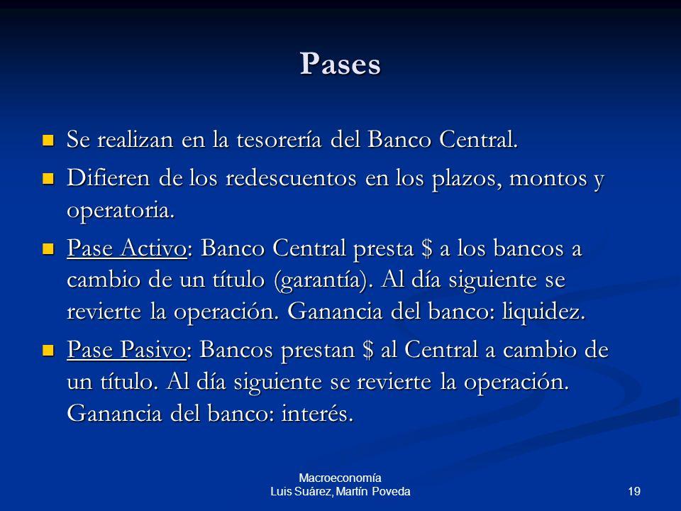 19 Macroeconomía Luis Suárez, Martín Poveda Pases Se realizan en la tesorería del Banco Central. Se realizan en la tesorería del Banco Central. Difier