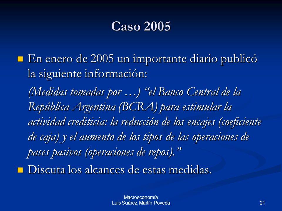 21 Macroeconomía Luis Suárez, Martín Poveda Caso 2005 En enero de 2005 un importante diario publicó la siguiente información: En enero de 2005 un impo