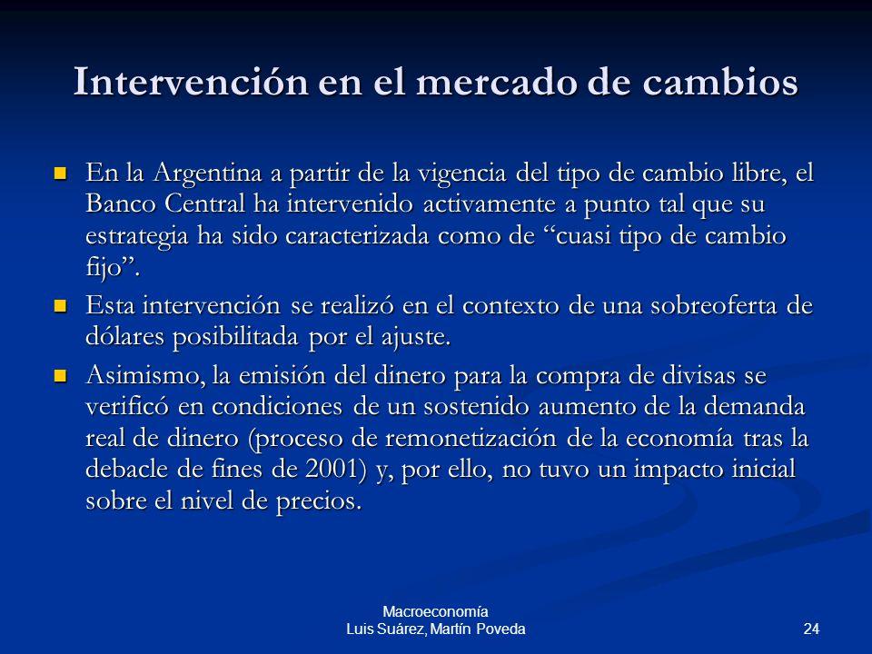 24 Macroeconomía Luis Suárez, Martín Poveda Intervención en el mercado de cambios En la Argentina a partir de la vigencia del tipo de cambio libre, el