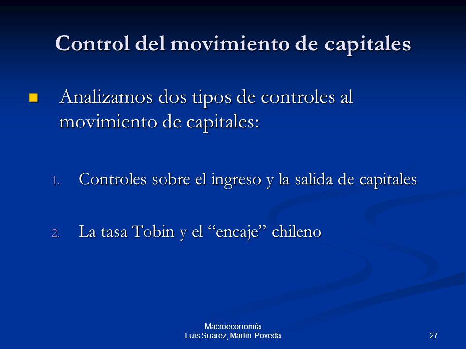 27 Macroeconomía Luis Suárez, Martín Poveda Control del movimiento de capitales Analizamos dos tipos de controles al movimiento de capitales: Analizam