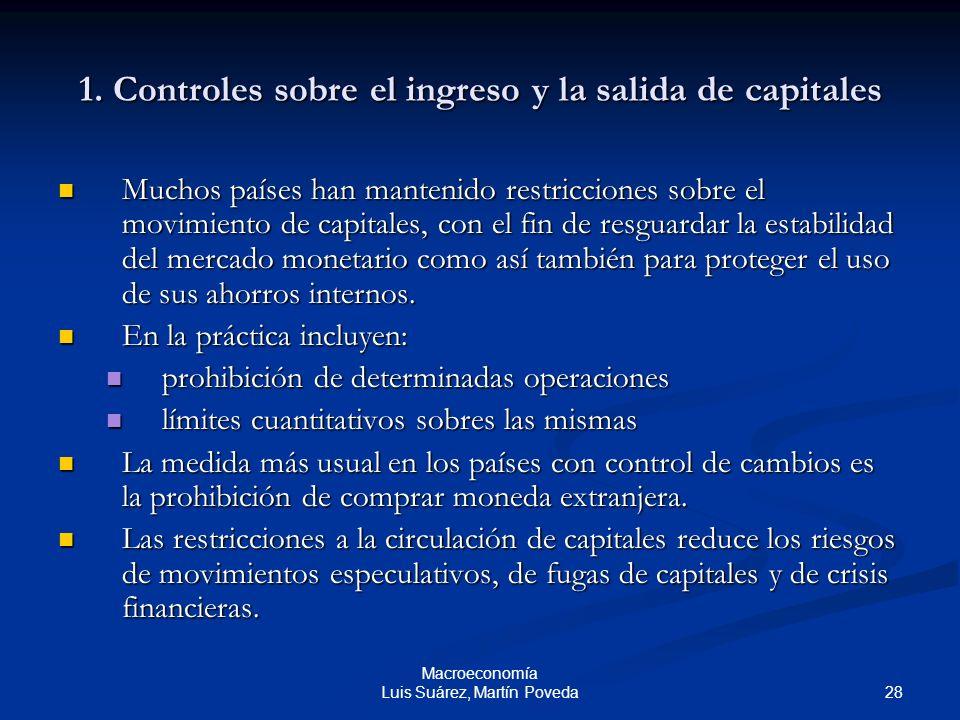 28 Macroeconomía Luis Suárez, Martín Poveda 1. Controles sobre el ingreso y la salida de capitales Muchos países han mantenido restricciones sobre el