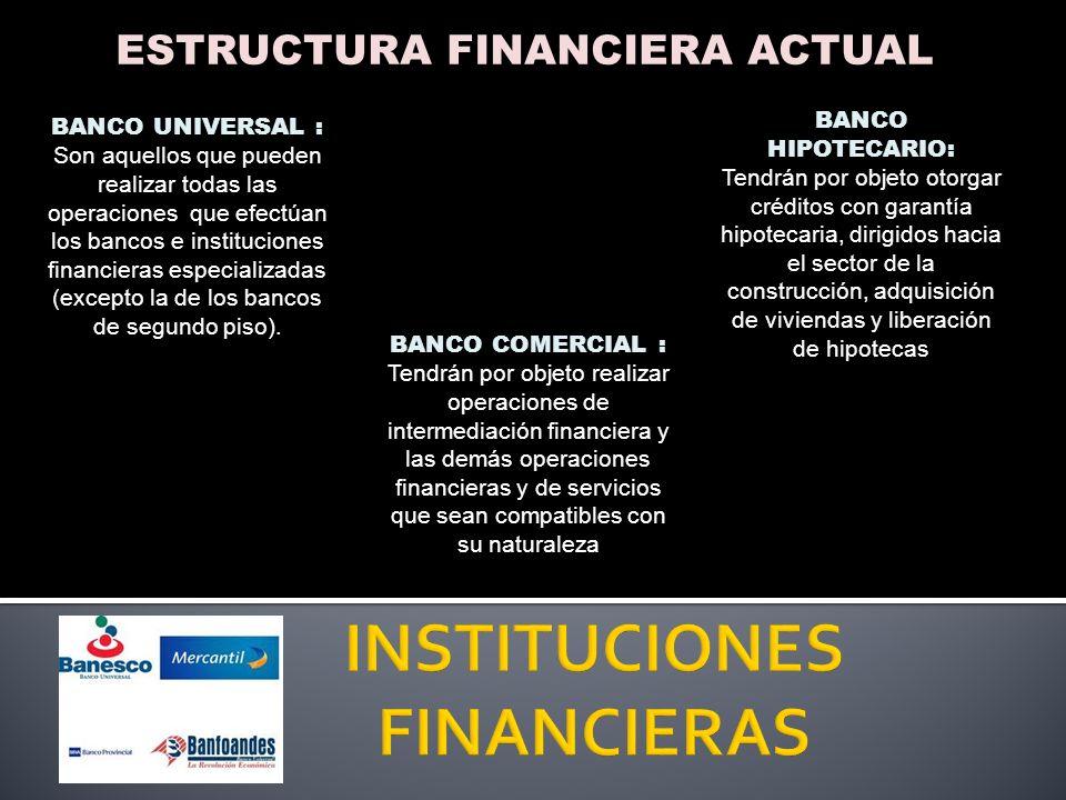 ESTRUCTURA FINANCIERA ACTUAL ARRENDADORAS FINANCIERAS: Realizar y regular las operaciones de arrendamiento financiero.