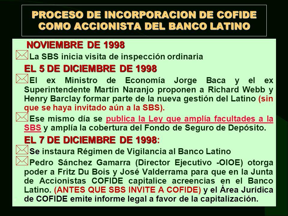 INCORPORACION DE COFIDE COMO ACCIONISTA DEL BANCO LATINO EL 8 DE DICIEMBRE DE 1998 * SBS invita a COFIDE a capitalizar acreencias en el Latino a través Martín Naranjo (Ex Superintendente de Banca y Seguros).