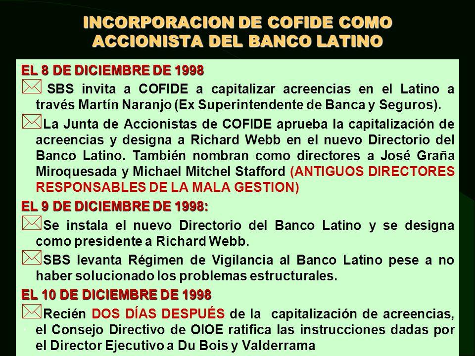 ILEGALIDAD DE LA OPERACIÓN DE CAPITALIZACIÓN DE ACREENCIAS DE COFIDE EN EL BANCO LATINO.