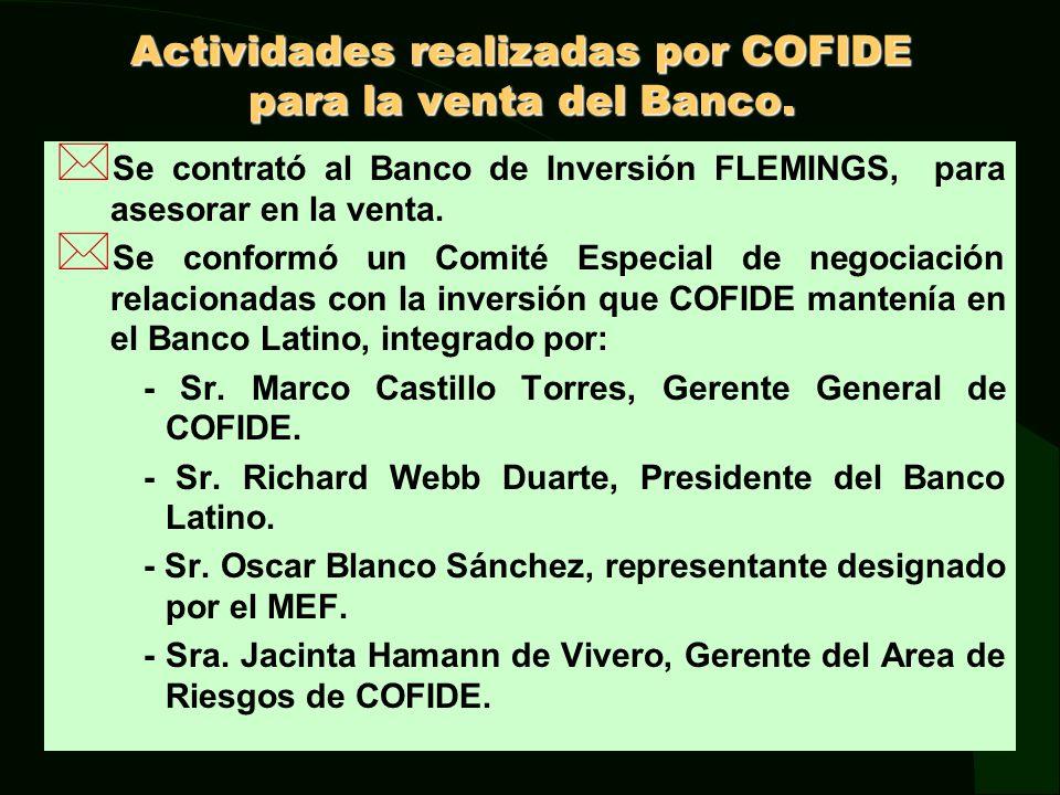 Actividades realizadas por COFIDE para la venta del Banco.