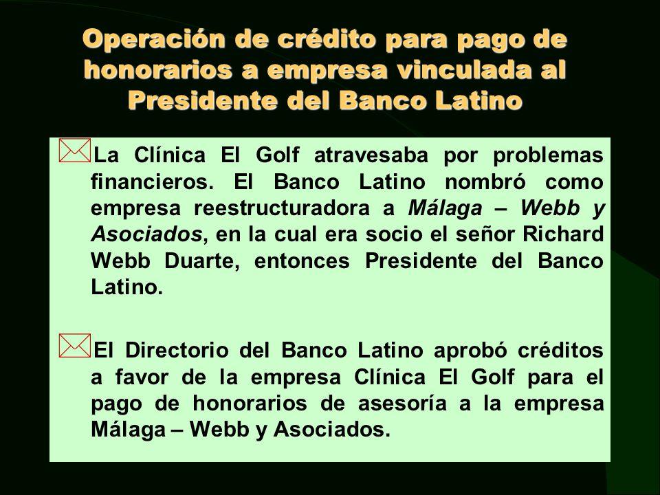 Operacion de crédito para pago de honorarios a empresa vinculada al Presidente del Banco Latino Este crédito no fue observado por la SBS en sus visitas de inspección, pese a que de las Actas de Directorio se deduce que el señor Richard Webb Duarte no se abstuvo en las votaciones para la aprobación del mismo.