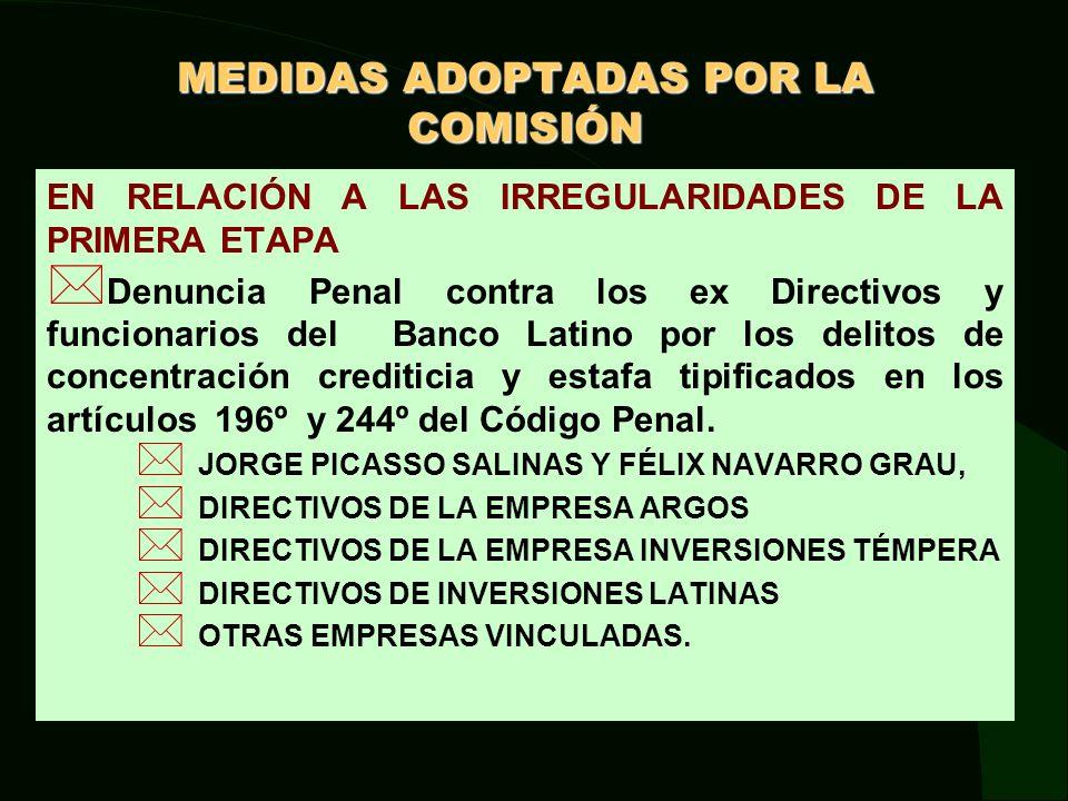 MEDIDAS ADOPTADAS POR LA COMISIÓN EN RELACIÓN A LAS IRREGULARIDADES DE LA PRIMERA ETAPA Por la capitalización de acreencias de COFIDE en el Banco Latino.