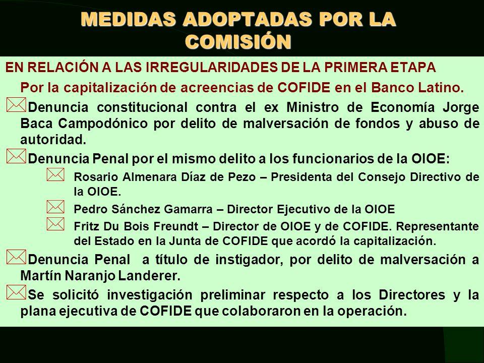 OTRAS ACCIONES ADOPTADAS Se ha solicitado al Ministerio Público abrir Investigación Preliminar: * A quienes resulten responsables de las irregularidades cometidas en el Contrato de venta de cartera suscrito entre el Banco de la Nación (por encargo del MEF) y el Banco Latino, a consecuencia del DU 041-99.