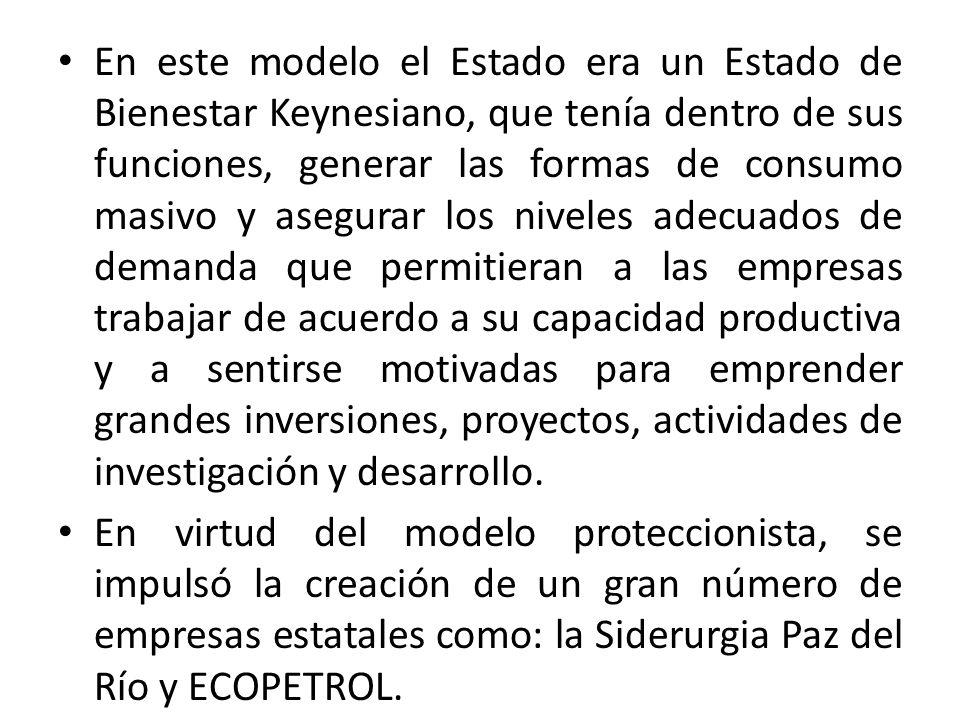En este modelo el Estado era un Estado de Bienestar Keynesiano, que tenía dentro de sus funciones, generar las formas de consumo masivo y asegurar los