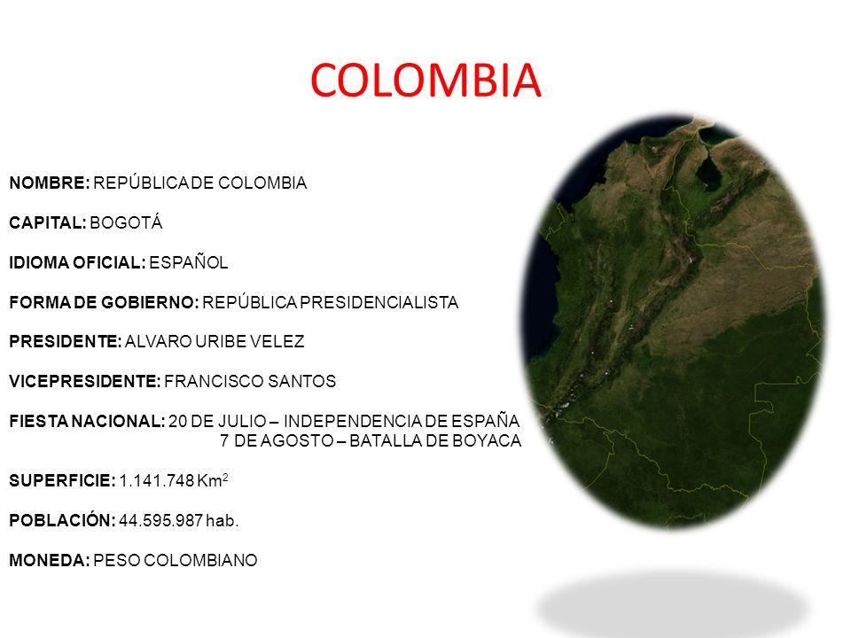 COLOMBIA NOMBRE: REPÚBLICA DE COLOMBIA CAPITAL: BOGOTÁ IDIOMA OFICIAL: ESPAÑOL FORMA DE GOBIERNO: REPÚBLICA PRESIDENCIALISTA PRESIDENTE: ALVARO URIBE