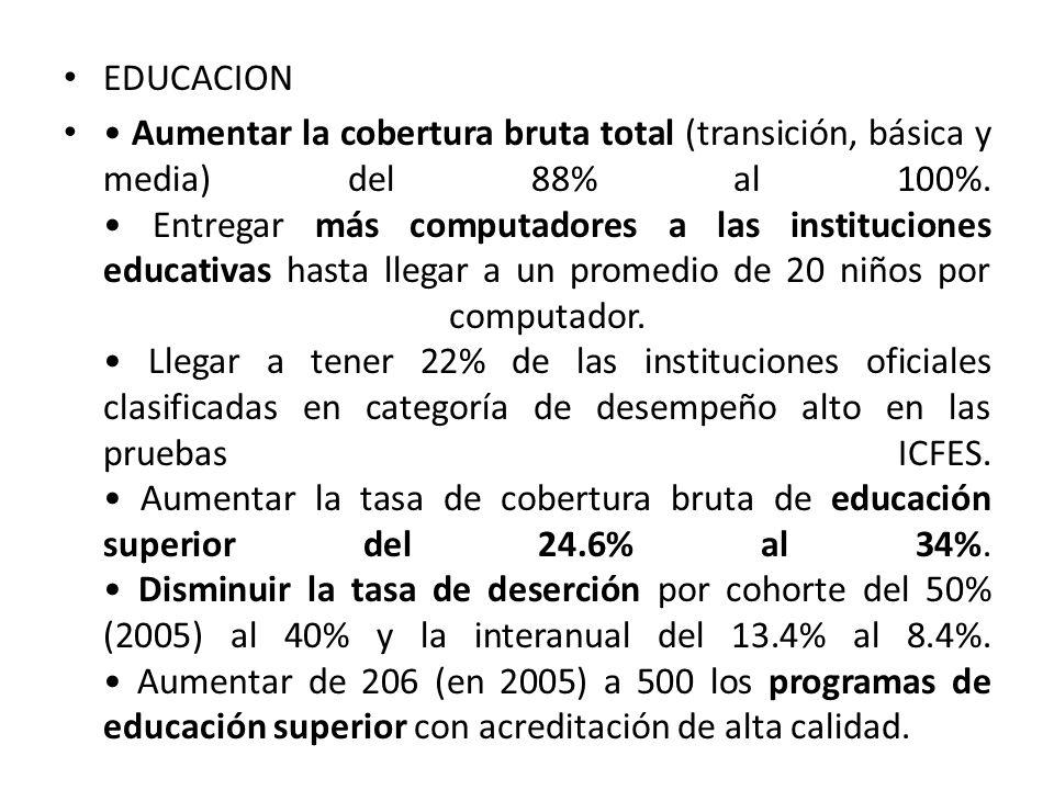 EDUCACION Aumentar la cobertura bruta total (transición, básica y media) del 88% al 100%. Entregar más computadores a las instituciones educativas has