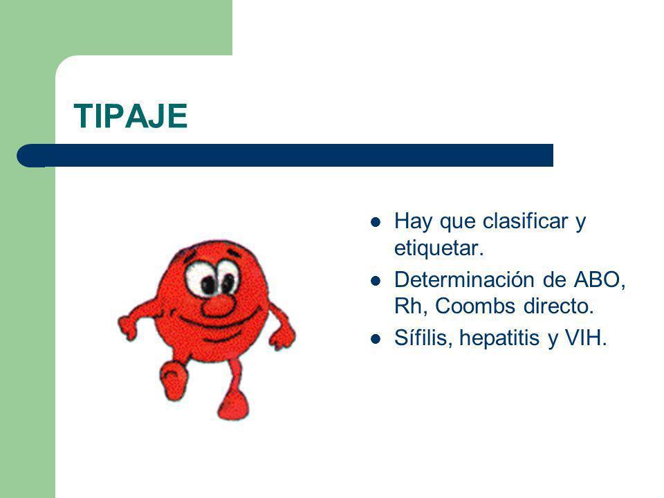 TIPAJE Hay que clasificar y etiquetar. Determinación de ABO, Rh, Coombs directo. Sífilis, hepatitis y VIH.