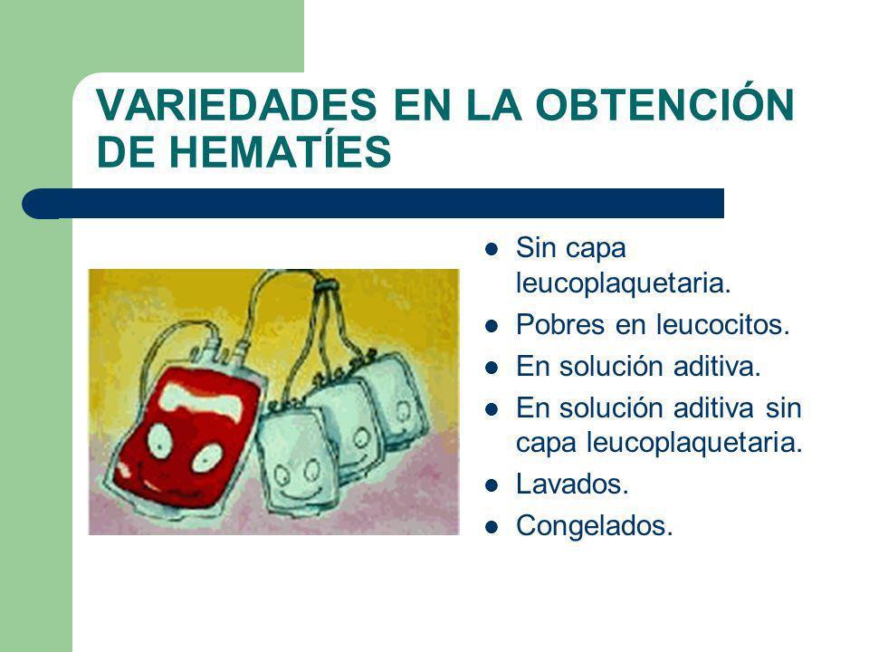 VARIEDADES EN LA OBTENCIÓN DE HEMATÍES Sin capa leucoplaquetaria. Pobres en leucocitos. En solución aditiva. En solución aditiva sin capa leucoplaquet