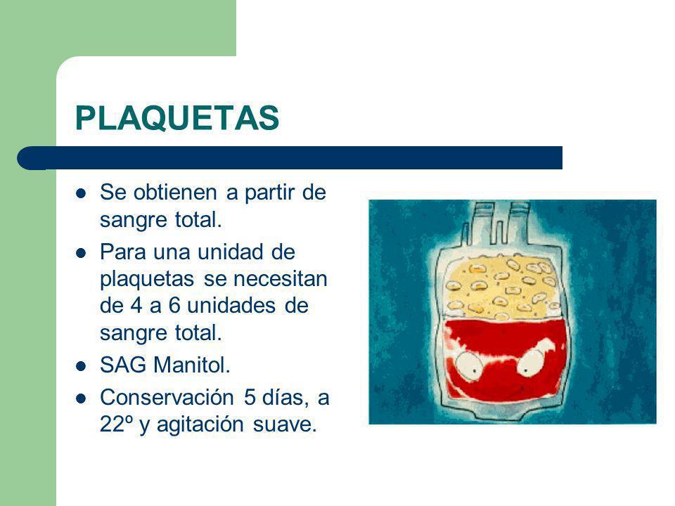 PLAQUETAS Se obtienen a partir de sangre total. Para una unidad de plaquetas se necesitan de 4 a 6 unidades de sangre total. SAG Manitol. Conservación